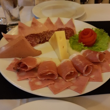 Meat and cheese platter to share