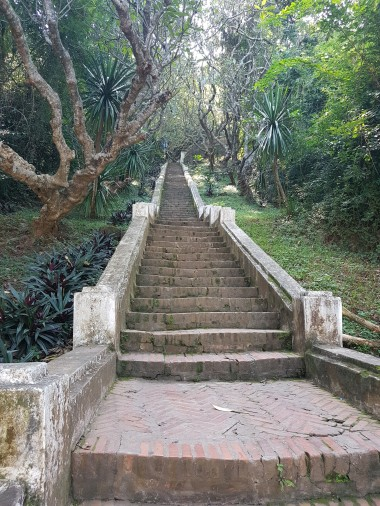 Steps leading up to Mount Phou Si