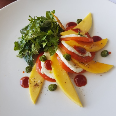 Burrato cheese and tomato salad with mango