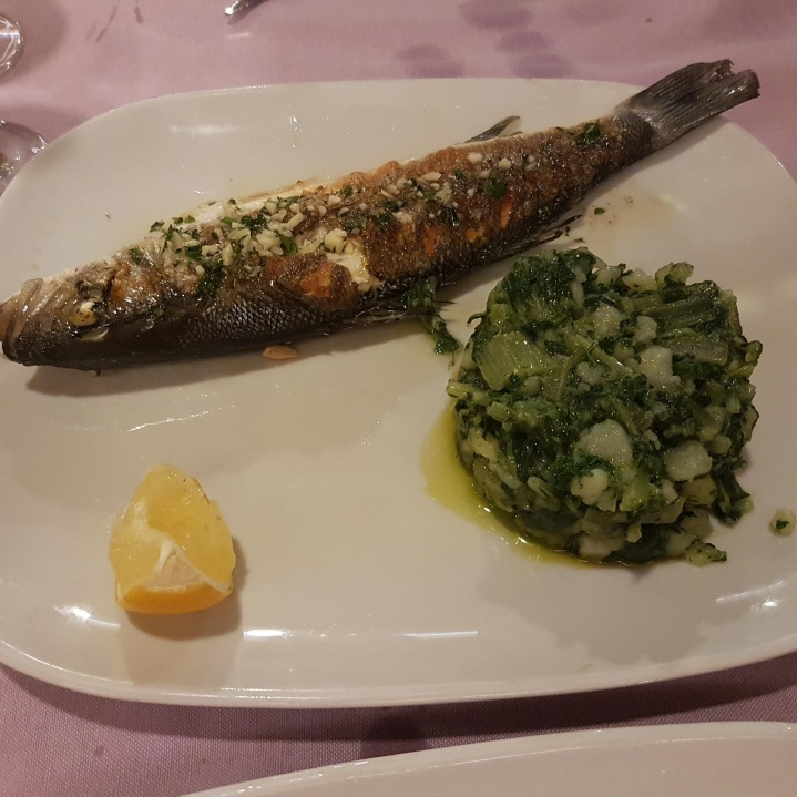Grilled Fish served with local Dalmatian dish of potatoes and Swiss Chard