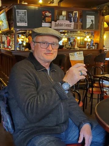 Enjoying a pint in Micauber's Tavern