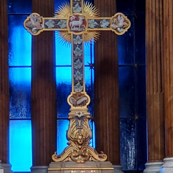Ornate cross at the alter
